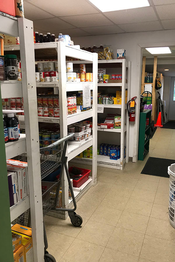 Food pantry shelves, stocked and ready